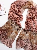 ผ้าพันคอชีฟอง เสือดาวสีส้มชมพู ( รหัส P44 )
