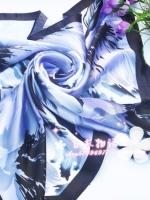 ผ้าพันคอผ้าซาติน Japanese Blue Style