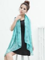 ผ้าพันคอผ้าชีฟอง ลายบูติกสีเขียวน้ำทะเล