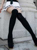 ถุงเท้าญี่ปุ่นนักเรียนสีดำยาวล้วนคอสเพลย์