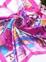 ผ้าพันคอผ้าซาติน จินตนาการสีกุหลาบ