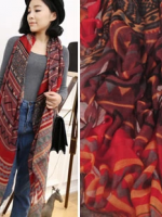 ผ้าพันคอผ้าฝ้าย ฤดูใบไม้ในบาหลี สีม่วงแดง