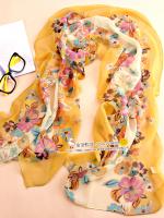 ผ้าพันคอผ้าไหม ลายฤดูใบไม้ร่วงสีเหลือง ( รหัส P89 )