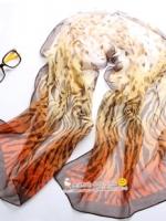 ผ้าพันคอชีฟอง เสือดาวสีส้ม ( รหัส P94 )