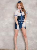 ชุดแอร์โฮสเตสสีขาวน้ำเงินเซ็กซี่คอสเพลย์การ์ตูนญี่ปุ่น