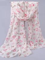 ผ้าพันคอชีฟอง ลาย Love Love สีขาว