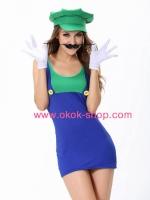 ชุดหลุยส์ผู้หญิงสีเขียวแฟนซีเกมส์มาริโอ้