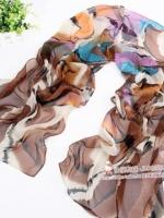 ผ้าพันคอผ้าPolyester+ผ้าไหม ลายเนเวอร์แลนด์สีน้ำตาล ( รหัส P102 )