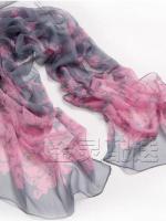 ผ้าพันคอผ้าPolyester+ผ้าไหม แฟนตาซีเสือดาวสีเทาชมพู ( รหัส P84 )
