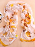 ผ้าพันคอผ้าไหม ลายใบไม้ร่วงสีเหลือง ( รหัส P103 )