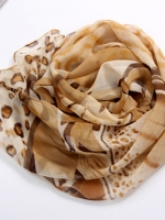 ผ้าพันคอผ้าPolyester+ผ้าไหม แฟนตาซีเสือดาวสีน้ำตาล ( รหัส P80 )
