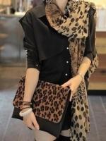 ผ้าพันคอชีฟอง ลายเสือดาวสีกาแฟ