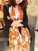 ผ้าพันคอชีฟอง สีส้ม ( รหัส P6 )