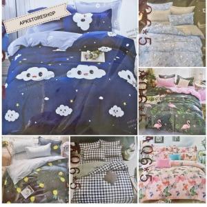 ขายส่ง ชุดผ้าปูที่นอนพร้อมผ้านวม พิมพ์ลาย เกรด A 6ฟุต*6ชิ้น ส่ง 380 บาท
