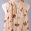 ผ้าพันคอผ้าชีฟองสีเบจ ลายดาวสีน้ำตาล ( รหัส P284 ) thumbnail 1