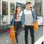 เสื้อคู่ เสื้อคู่รัก ชุดคู่รัก เสื้อคู่รักแขนยาวเกาหลี ผู้หญิง + ผู้ชาย เสื้อยืดกึ่งเสื้อเชิ้ตแขนยาว สีขาวลายเส้นขวางสีดำ แขนเสื้อผ้ายีนส์นิ่มดีไซน์แบบแขนเสื้อเชิ้ต thumbnail 4