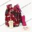 กระเป๋า Chalita wu + สะพาย สีเลือดหมู ลายจุดใหญ่ thumbnail 4