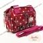 กระเป๋า Chalita wu + สะพาย สีเลือดหมู ลายจุดใหญ่ thumbnail 3