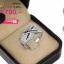 แหวนเงิน ประดับเพชร CZ แหวนดีไซน์ยอดฮิตหน้าแหวนลายกากบาทไขว้ ฝังเพชรกลมดำล้อมรอบฝังเพชรกลมขาว ใส่ออกงานสุดหรู thumbnail 2