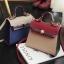 กระเป๋าถือ + สะพายข้าง HERMES mini style น้ำเงิน-ครีม thumbnail 5