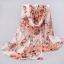 ผ้าพันคอชีฟอง ลายดอกกุหลาบโทนชมพูส้ม thumbnail 1