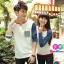 เสื้อคู่ เสื้อคู่รัก ชุดพรีเวดดิ้ง ชุดคู่รัก เสื้อคู่รักเกาหลี เสื้อผ้าแฟชั่น ผู้ชาย + ผู้หญิง เสื้อแขนยาวสีขาว ตัดด้วยแขนเสื้อลายฟ้าขาว ผลิตจากผ้าฝ้าย เนื้อนิ่ม หนา ใส่ สบาย งานจริงสวยๆมากค่ะ thumbnail 1