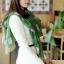 ผ้าพันคอผ้าชีฟอง ลายนาฬิกาโบราณสีเขียวเข้ม thumbnail 1