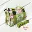 กระเป๋าทรงหมอน Chalita wu + สายสะพาย สีเขียว ลายดอกไม้ thumbnail 2