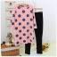 ชุดวอร์มเกาหลี ลายจุด เสื้อแขนยาวขายาว สีชมพู