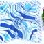 ผ้าพันคอผ้าซาติน ลายมิติฟ้าขาว thumbnail 2