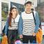 เสื้อคู่ เสื้อคู่รัก ชุดคู่รัก เสื้อคู่รักแขนยาวเกาหลี ผู้หญิง + ผู้ชาย เสื้อยืดกึ่งเสื้อเชิ้ตแขนยาว สีขาวลายเส้นขวางสีดำ แขนเสื้อผ้ายีนส์นิ่มดีไซน์แบบแขนเสื้อเชิ้ต thumbnail 1